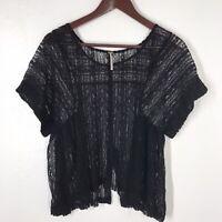 Free People Women's Black Lace Mesh Sheer Boho Short Sleeve Top Size Small