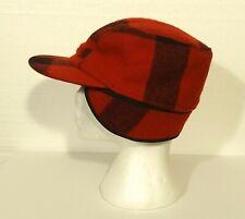 Filson Mackinaw Plaid hat cap w ear flaps hunting fishing wool men's size LARGE