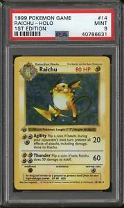 Pokemon Base Set 1st Edition Shadowless Raichu 14/102 PSA 9