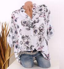 Bluse Damen Tunika 44 46 48 weiß Longbluse Fischerhemd Leinen Optik Blumen Damen