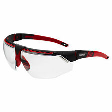 Uvex Avatar Safety Glasses with Clear Anti-fog Lens, Red Frame