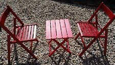 3 Piece Folding Wooden Chairs and Coffee Table (RED)