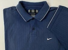 Nike Golf Mens Polo Shirt Dry Fit Short Sleeve Swoosh Crest Blue Striped Size L
