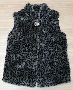 DEBENHAMS Star Fake Animal Print Look Gilet Black Grey Button Up Age 14 Years