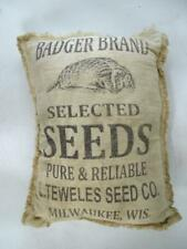Antique Advertising Badger Brand Seed Bag Milwaukee WI Teweles Pillow Vintage