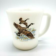 "Vintage Fire King Milk Glass Cup Mug Canada Goose 3.5"" Tall 3"" Diameter"