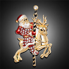 Lovely Santa Claus Deer Rhinestone Christmas Gifts Brooch Pin Collar Corsage;AU