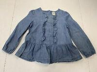 Osh Kosh Girls 5T Long Sleeve Blue Jean Shirt Ruffles Cute Winter Toddler