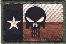TEXAS FLAG w/PUNISHER SKULL - ARMY - COMBAT - MORALE- IRON ON PATCH