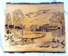 Pyrography Folk Art Landscape Winter Horse Drawn Sleigh Plantation Signed
