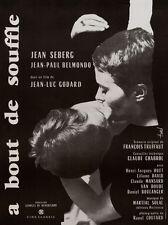 Affiche Pliée 40x60cm À BOUT DE SOUFFLE 1960 Godard Belmondo Seberg ressortie 80