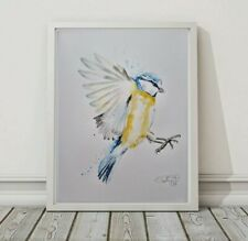 More details for new elle smith large original signed watercolour art painting of blue tit bird