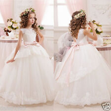 NEW Lace Appliques Flower Girl Dresses With Belt Ball Gown Holy Communion Dress