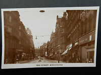 Vintage New Street Birmingham RPPC Postcard Great Street View To Town Hall R1031