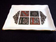 Bone china Christmas pin dish trinket tray NOEL black red gold Papel 1995