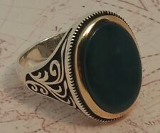 Turkish Ottoman Green Agate  Gemstone Solid 925 Sterling Silver Ring Gemstone