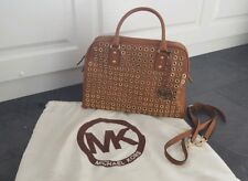 Michael Kors Ladies Tan Leather Tote Bag with Gold Grommet Detail