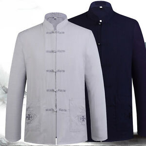 Men's Chinese Traditional Kung Fu Long Sleeve Cotton Linen Tang Shirt and Pants