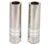 shabbat candle holder-Cylinder Shaped Hammered Candlesticks, Silver plated -New