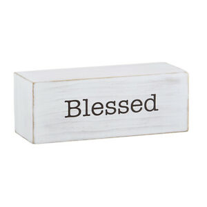 Farmhouse Message Decor Blocks Blessed