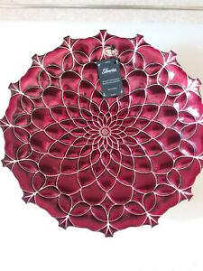 "Akcam Silverina Art Glass 16"" Glass Bowl Ruby Red, Hand Made inTurkey 99% Silver"