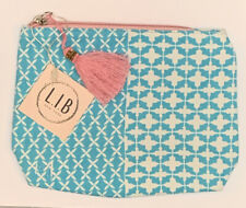 New L.I.B. Teal Pattern Pink Tassel Zip Pouch Make Up Accessories Cosmetic Bag