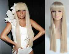 DELUXE LADY GAGA, 70's EXTRA LONG STRAIGHT BLONDE BLUNT FRINGE FASHION WIG