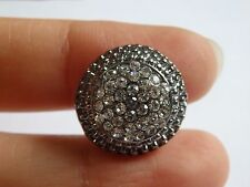 2 small crystal buttons black round rhinestone diamante embellishment sewing -16