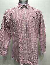 Us Polo Assn Red Plaid Botton Down Logo Emboshed Men Long Sleeve Size XL