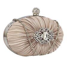Silver Nude Ivory Satin Crystal Clutch Bag Wedding Prom Party Handbag Purse BNWT