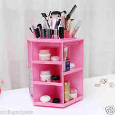 360° Versatile Rotating Cosmetic Makeup Brush Storage Display Organizer Box(Pink