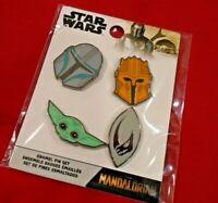 NEW FUNKO Star Wars MANDALORIAN ENAMEL 4 PIN SET w/The Child Yoda DISNEY Limited