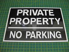 1 de la propiedad privada no hay aparcamiento 3mm Rígido signo blk/whte
