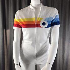 TwinSix Womens Zip Cycling Jersey XL White Rainbow Grand Prix Mario Andretti USA