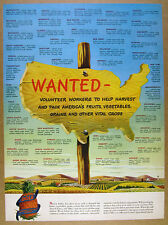 1945 Wartime Volunteer Workers to Harvest Crops help wanted sign Dole vintage Ad