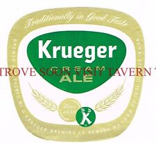 Unused 1960s Krueger Cream Ale 12oz Newark Label Tavern Trove New Jersey