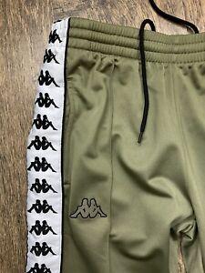 Kappa Tape Logo Popper Joggers Tracksuit Bottoms Kharki Mens Size Xs Vgc #m0