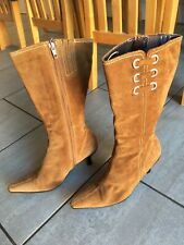 Clarks Ladies Tan Suede Mid-Calf Heeled Boots Size 3. Great Condition.
