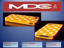 IPhone 4 4S Arancione Bianco a Pois macchie retro copertina caso TPU della pelle