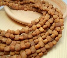 50 Earthy Rustic Beads Tan 7mm Flat Nugget Shaped D-A01