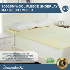 Dreamaker 300 GSM Fully Fitted Wool Fleece Underlay Mattress Topper King Single