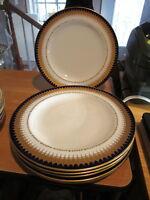 """6 Vtg Royal Crown Derby Cobalt & Gold 10"""" Dinner Plates"""