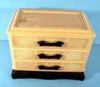 Oriental Jewelry Box Dragon Handled Plastic Celluloid Vintage