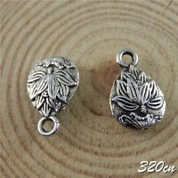 50pcs Vintage Silver Alloy Engraved Lotus Pendants Charms Crafts Finding 50662