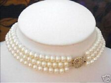 3 Strand Natural 7-8mm Freshwater Cultured Pearl Choker Necklace 17-19'' AAA+