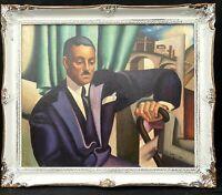 1920s RUSSIAN / ART DECO IMPRESSIONIST OIL PAINTING PORTRAIT OF MAN --- LEMPICKA