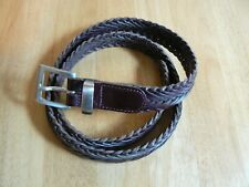 """COUNTRY ROAD Women's Plaited Leather Belt LARGE Brown 30"""" (76 cm) waist"""