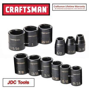 CRAFTSMAN TOOLS 12 pc 1/2 Drive SAE Impact Socket Set Standard Depth 6 pt - NEW