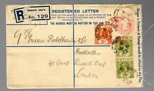 registered letter Colombo Courts to London 1922