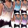 Womens Print Irregular Sleeveless Vest V-Neck Loose T-shirt Tank Top Plus Size